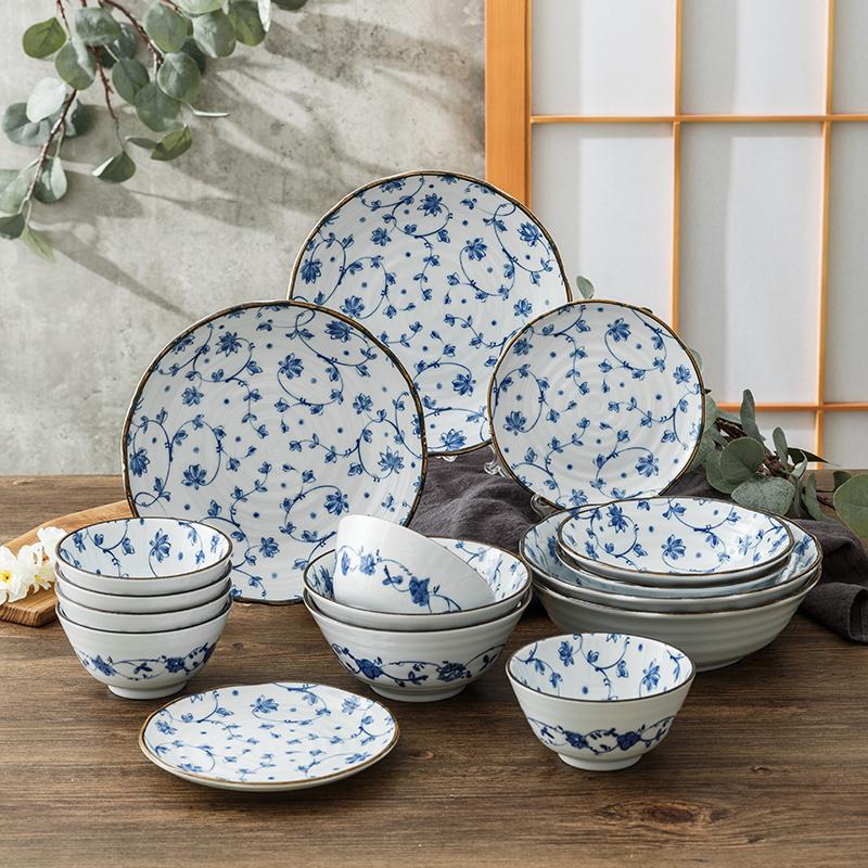 艾罗赫柏 日本进口唐草陶瓷餐具礼盒套装