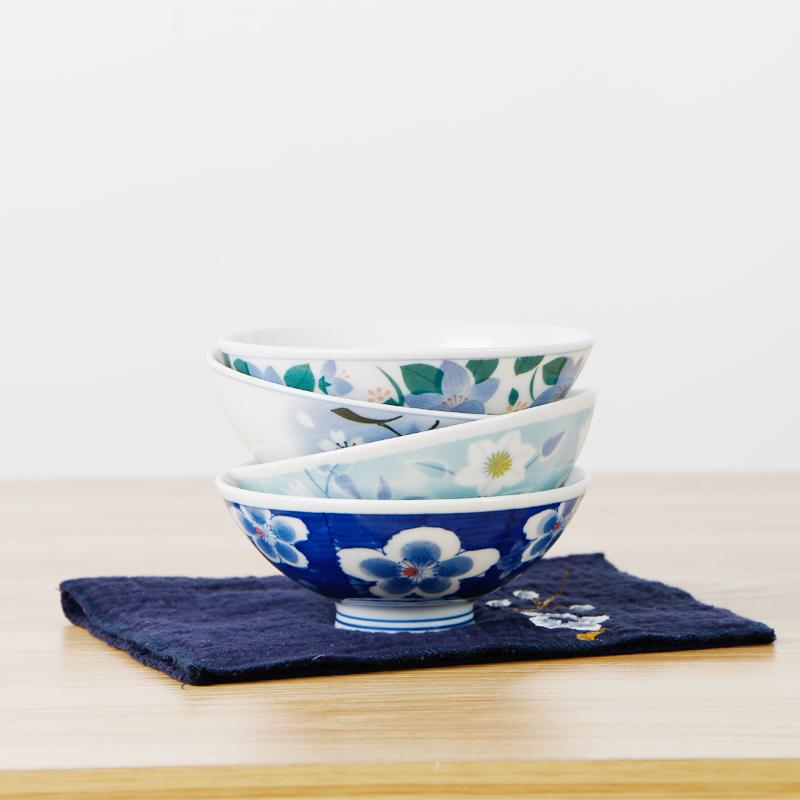【限量版定制款】Mino Yaki 美浓烧 日本进口丸浦系列陶瓷饭碗手绘釉下彩陶瓷碗餐具纸制礼盒套装