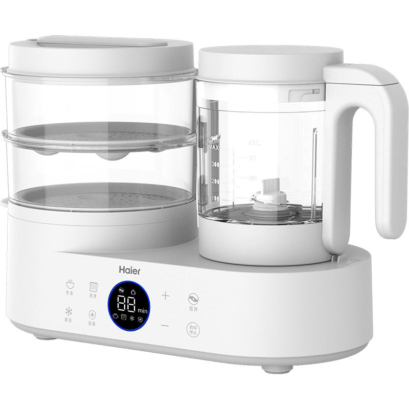 海尔(Haier)家用多功能可消毒婴儿辅食机 宝宝营养食物调理机 电动研磨器料理机 蒸搅双杯一体机 HBP-D201
