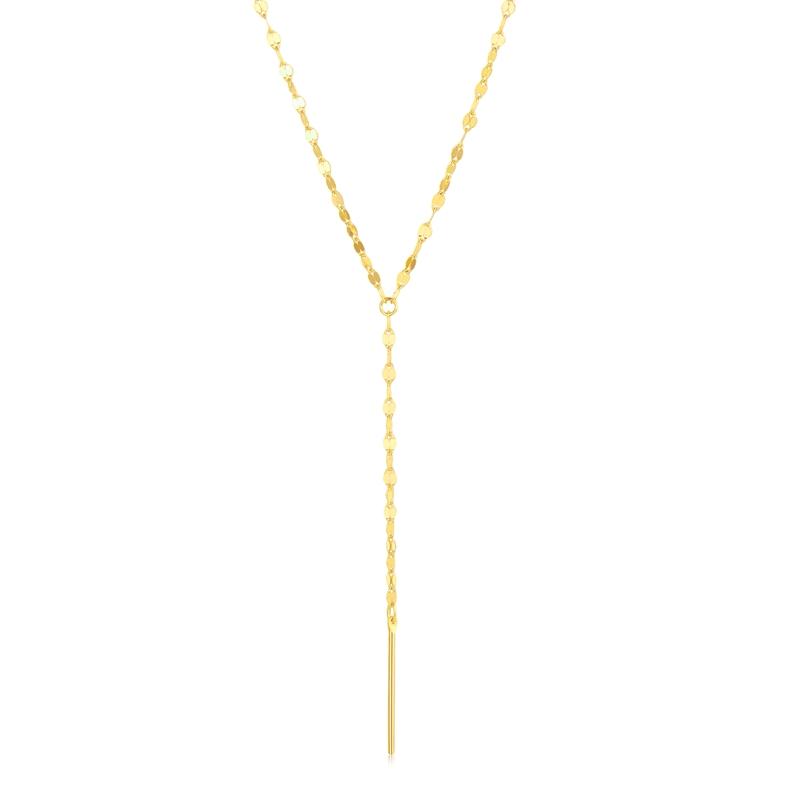 中银金行18K金项链嘴唇链女网红INS风长款V型项链套链彩金项链女款DSAK0112