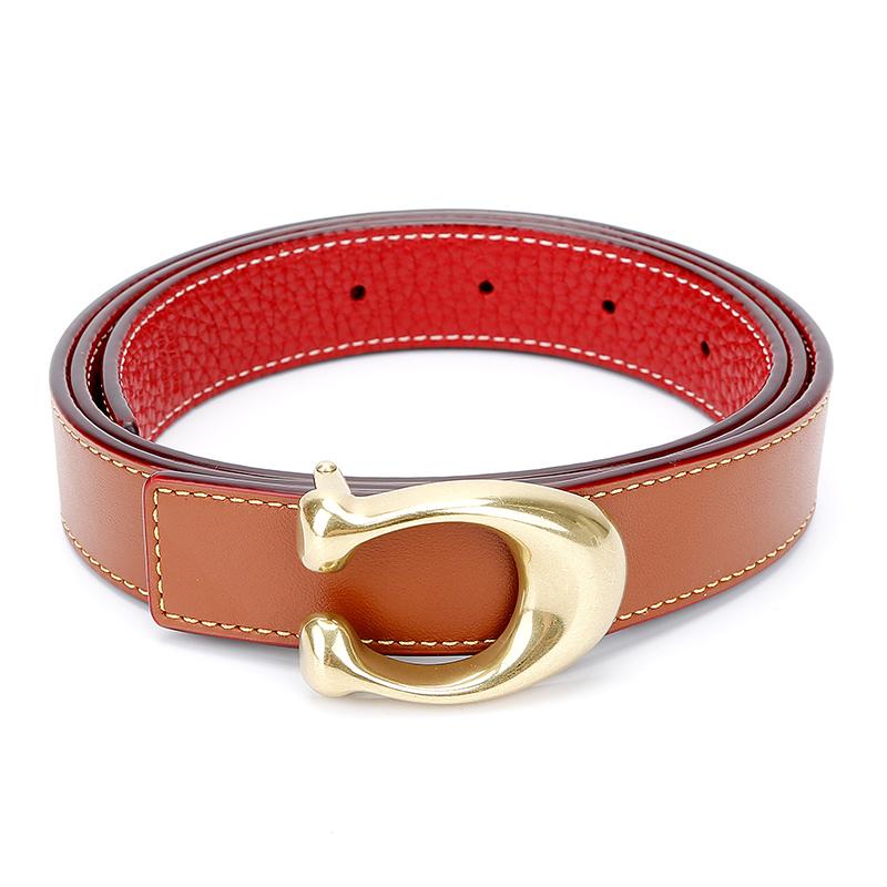 蔻驰 COACH 奢侈品 女士专柜款双面皮质腰带皮带棕色配红色 78176 B4OH2