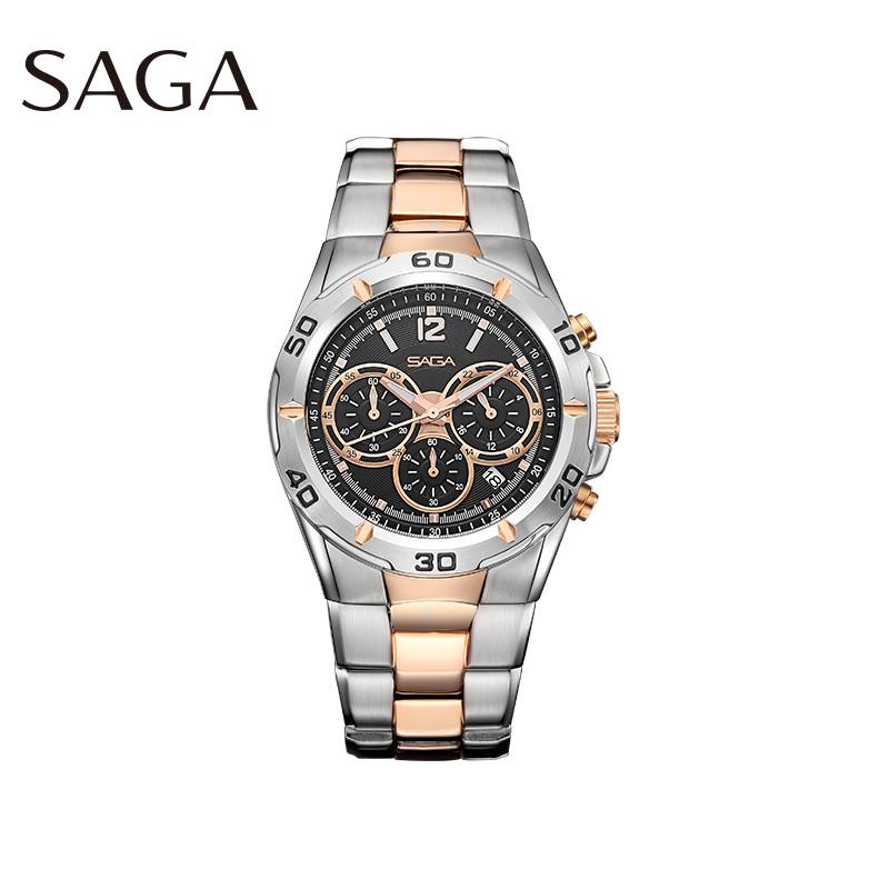 SAGA世家表多功能运动潮流计时防水塞车三眼手表 男表