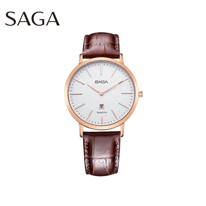 SAGA世家表 男士手表 进口石英机芯 时尚商务简约经典 真皮防水腕表 送男友送男生礼物