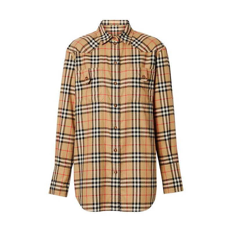 BURBERRY/巴宝莉女装 博柏利驼色棉质格纹长袖衬衫 8021051