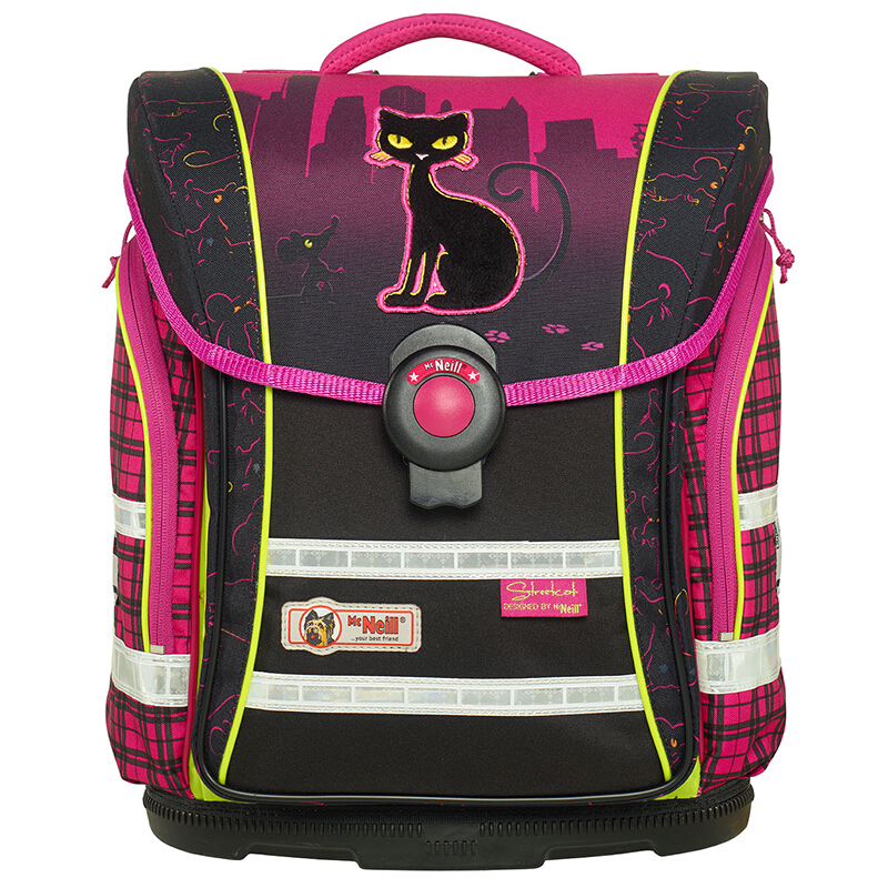 McNeill德国进口儿童小学生书包 减负护脊轻便双肩背包四件套 黑色猫和老鼠 Compact-9607159 33*38*20