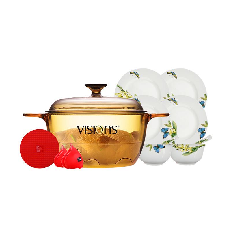 VISIONS晶彩透明锅深锅2.5L(VS-25)+陶瓷餐具八件套+锅垫耳套