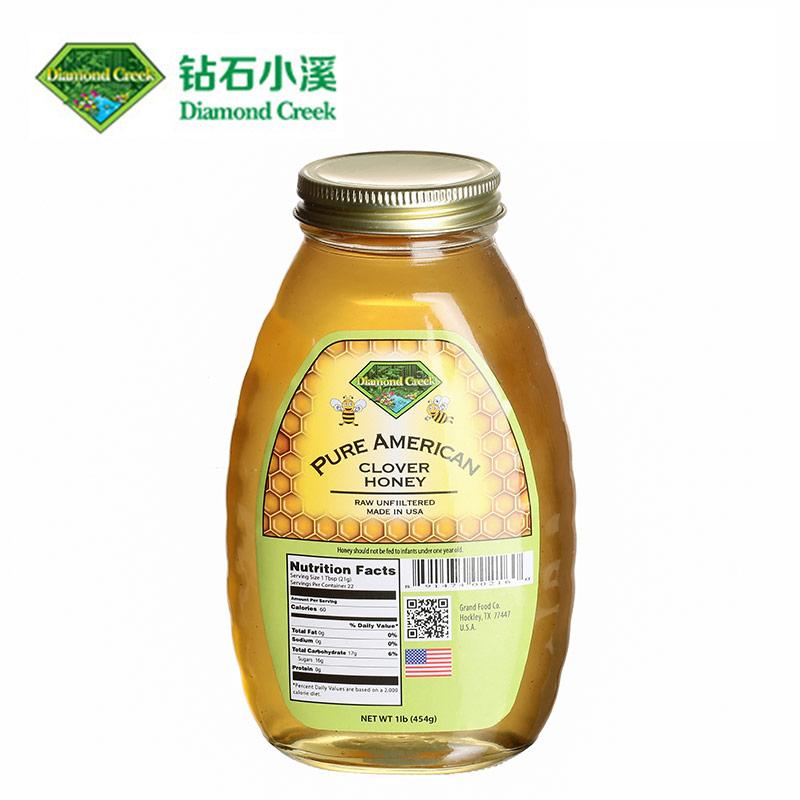 钻石小溪 成熟三叶草蜂蜜 钻石小溪进口美国蜂蜜454g