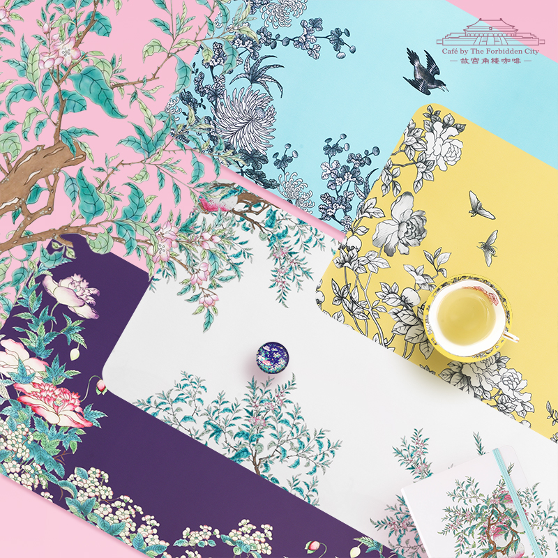 故宫角楼咖啡—大雅斋桌垫绿地墨彩花鸟纹