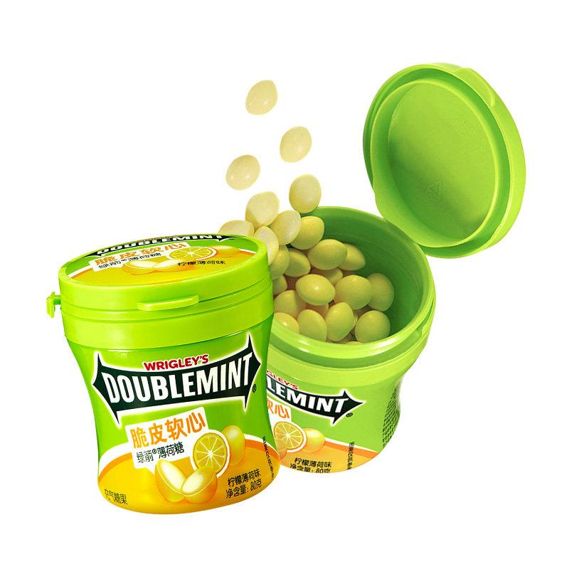 綠箭脆皮軟心薄荷糖檸檬薄荷瓶裝80g*6瓶