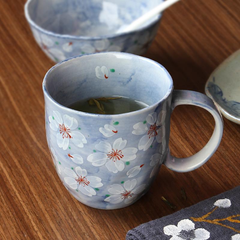 MinoYaki 美濃燒 日本進口手繪浪漫櫻花馬克杯單個、手繪藍染復古咖啡杯