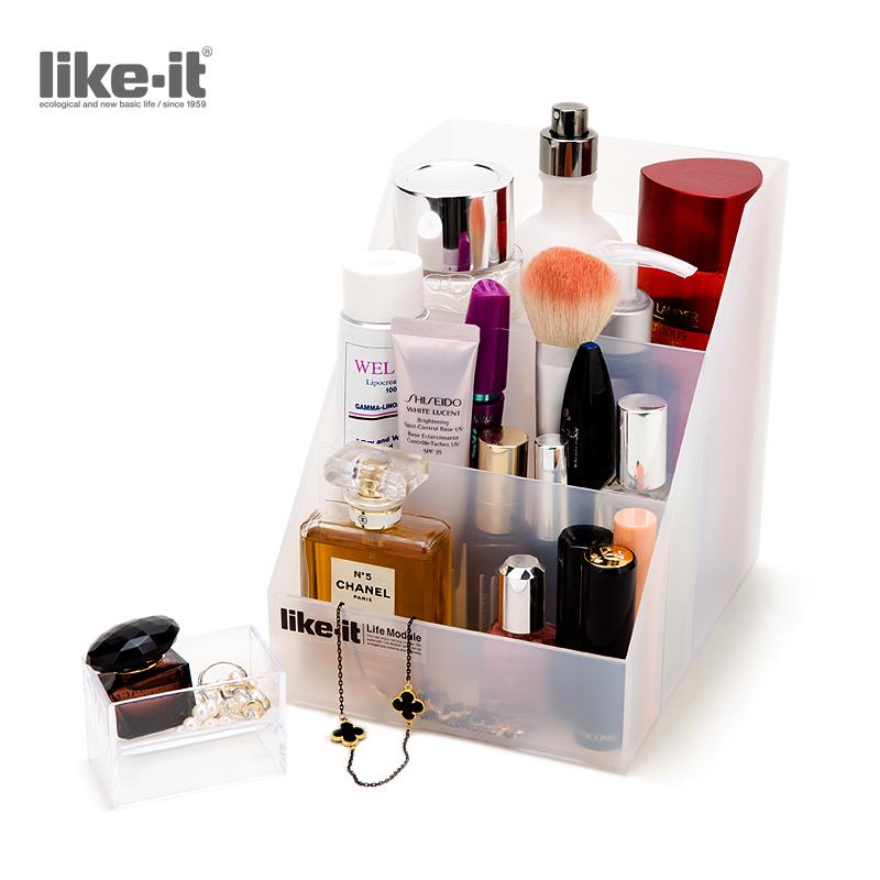 like-it日本进口收纳盒桌面整理盒 办公文具化妆品护肤品收纳盒