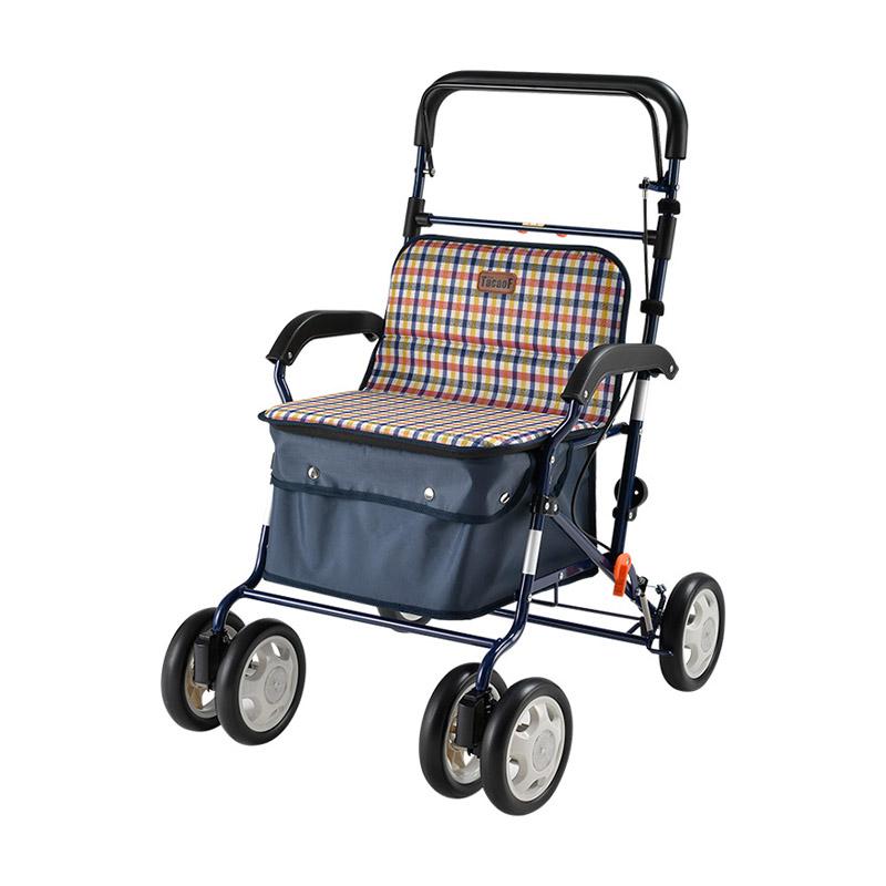 TacaoF日本特高步 老年人购物车助行手推车 买菜车铝合金轻便扶手可调高度可坐可推 粉蓝格子LH18(适合高个)