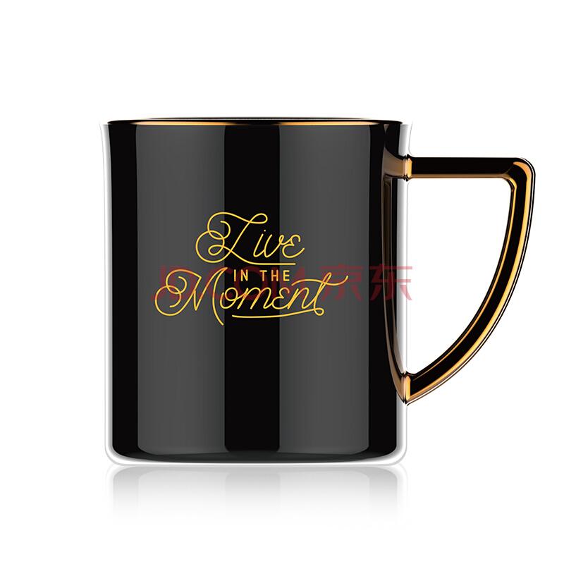 TOMIC特美刻乐茶杯陶瓷/马克杯 北欧风简约描金陶瓷马克杯创意情侣水杯早餐咖啡牛奶杯子 TC85001 300ml 黑色,特美刻(TOMIC)