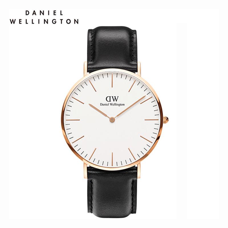 DW 白色表盘金色边皮带超薄40mm男士石英手表 DW00100007