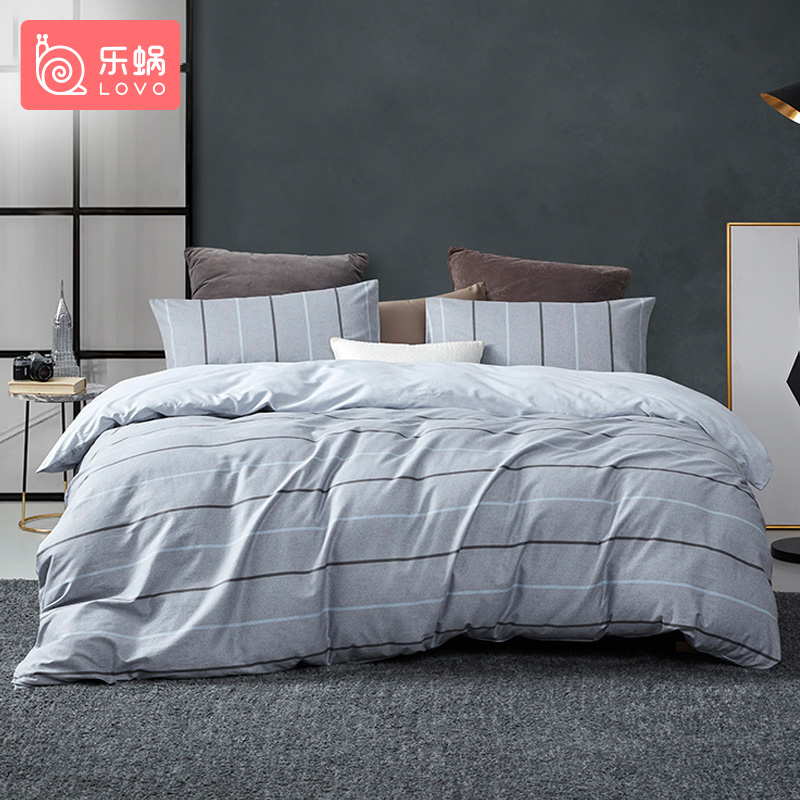 罗莱旗下LOVO乐蜗家纺布加诺全棉简约欧风床品四件套200*230cm