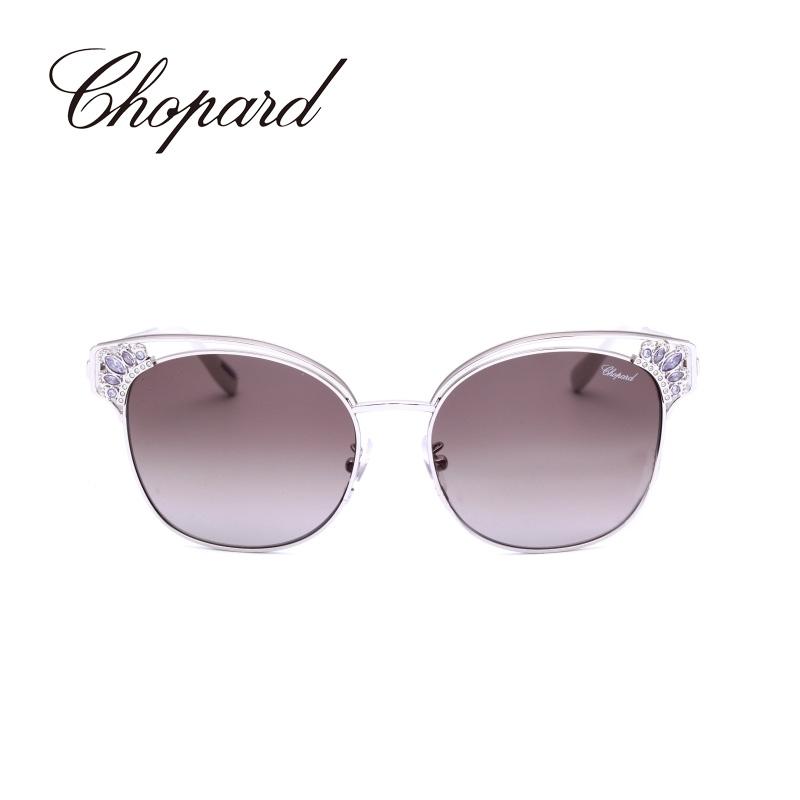 意大利Chopard/萧邦半框金属奢华水钻时尚女士墨镜太阳眼镜SCHC24S