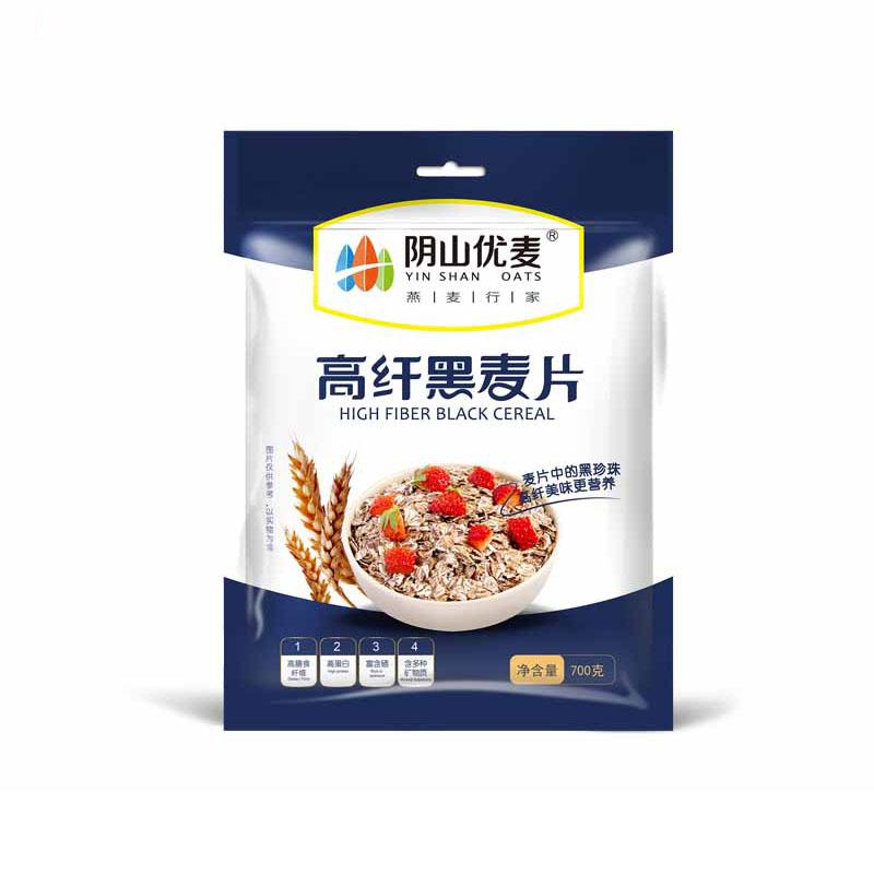 阴山优麦 高纤黑麦片700g袋装*2袋