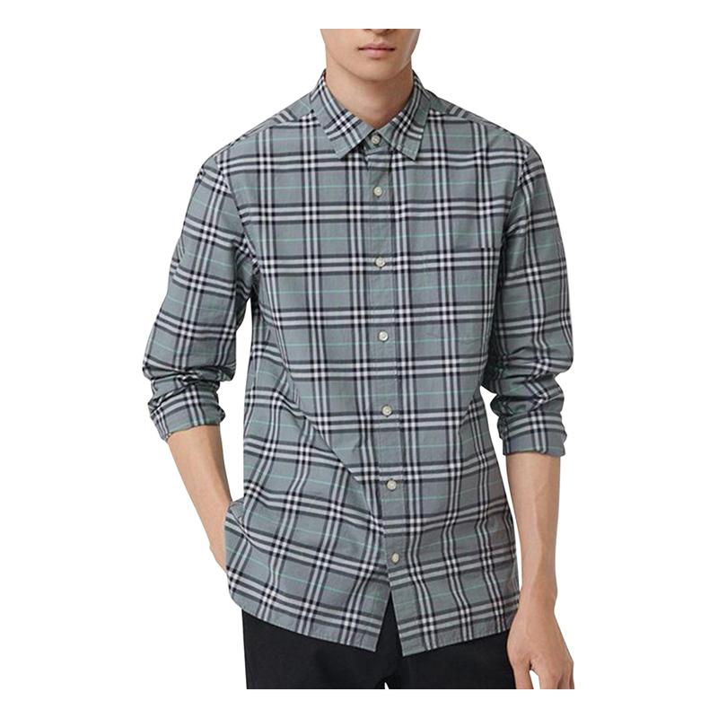 Burberry London,England/灰格纹男士长袖衬衫