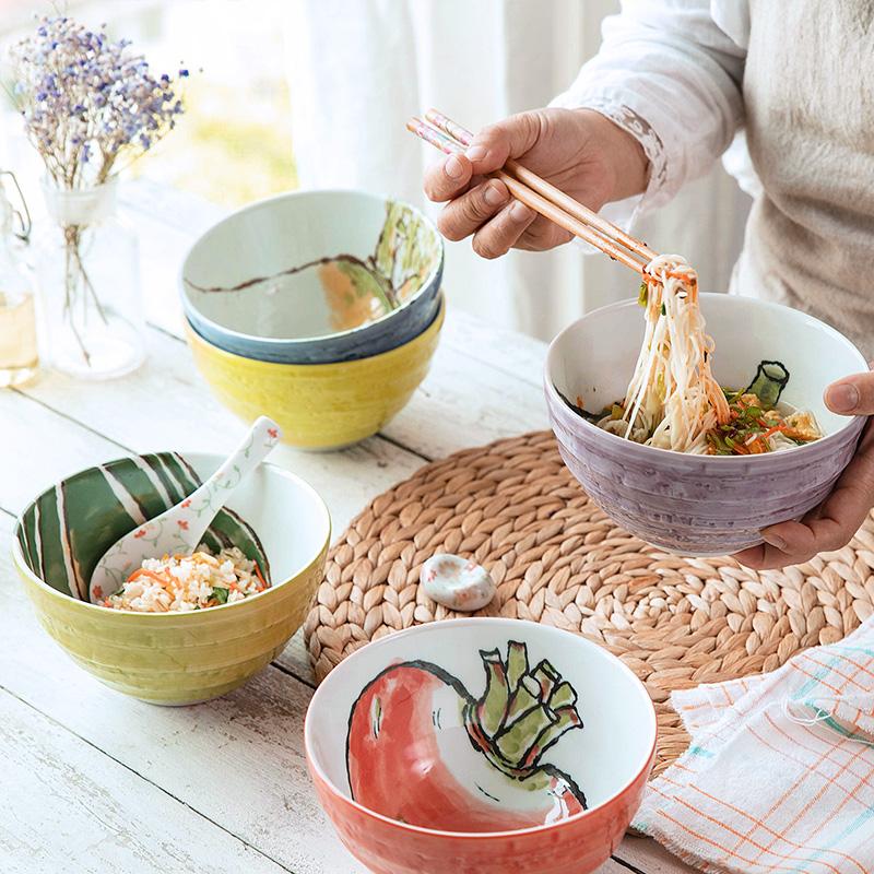 MinoYaki美浓烧日本进口蔬菜系列手绘陶瓷面碗餐具套装