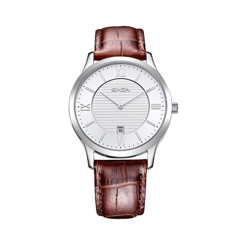 SAGA世家表休闲情侣表简约日历盘皮带手表