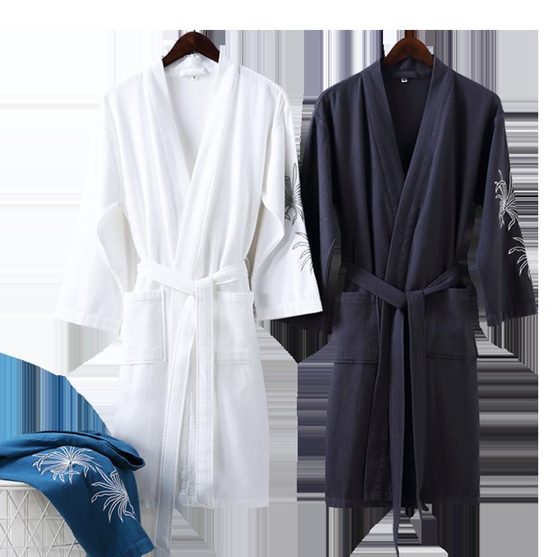 雪仑尔 五星级酒店纯棉浴袍 礼盒装 情侣浴袍 全棉吸水 男女通用 墨绿森林 M