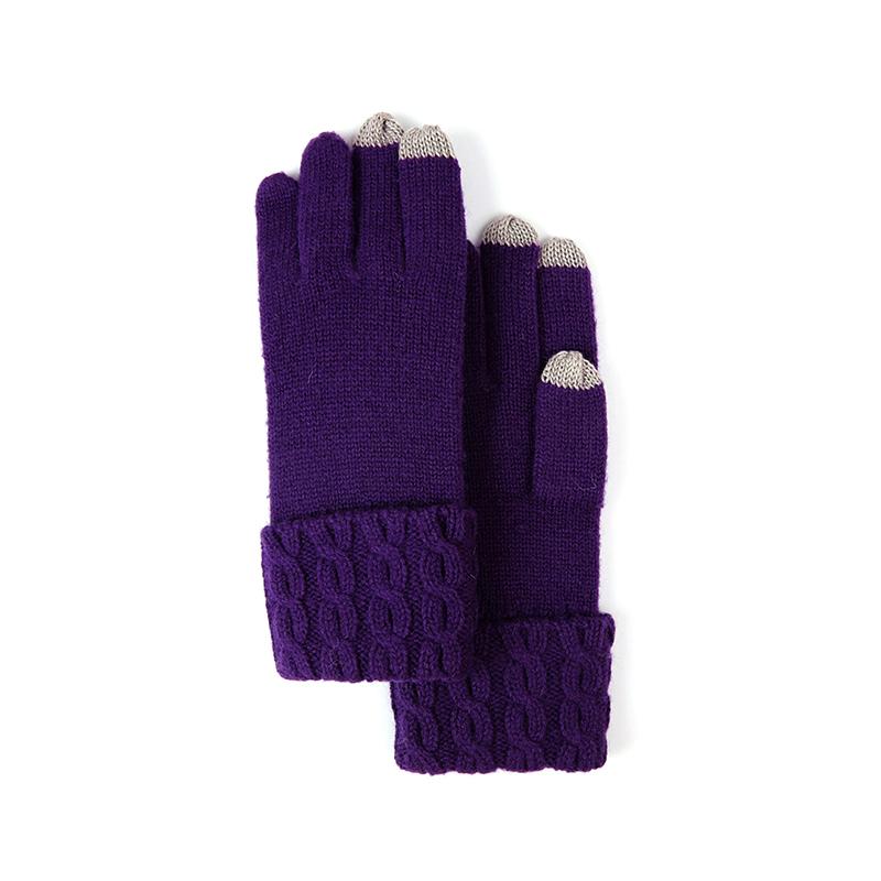 玛丽亚.古琦(MARJA KURKI)纯色针织手套 保暖女士触屏手套 贝娜尼亚 5EE360628紫色