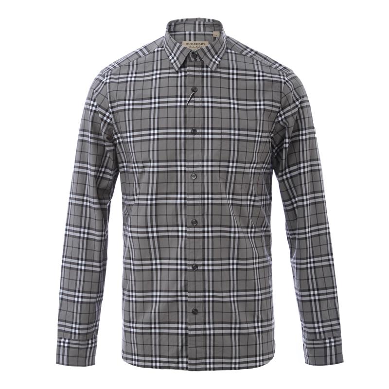 Burberry London,England/灰色格纹男士长袖衬衫