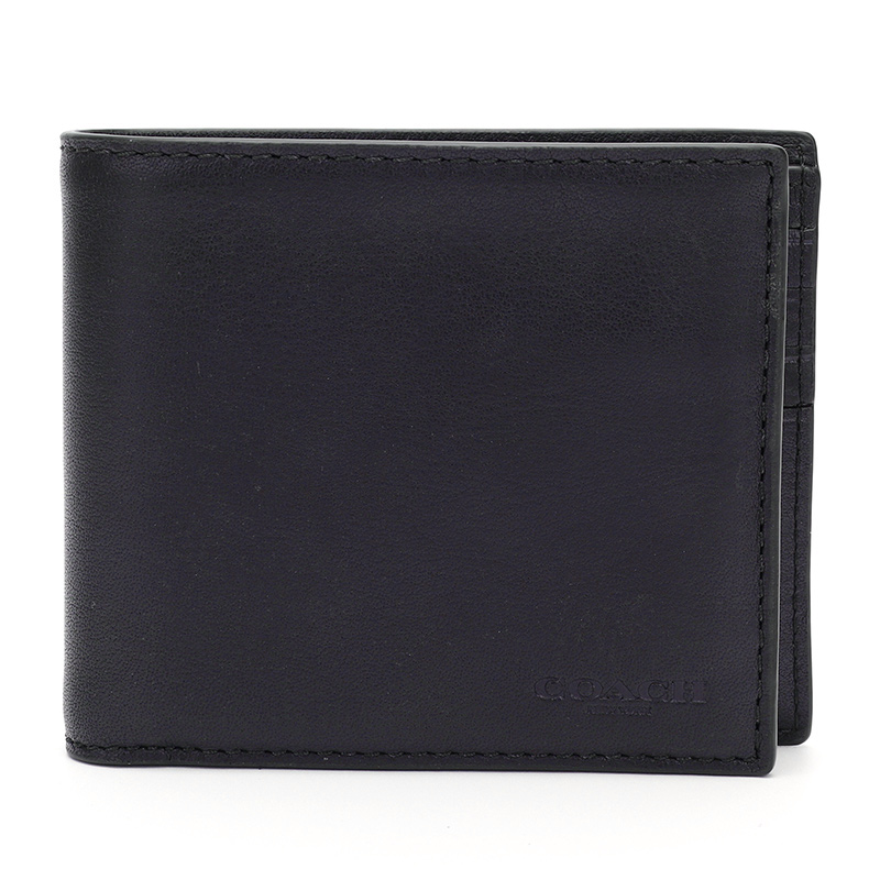COACH 蔻驰 奢侈品 男士专柜款藏青色皮质短款对折钱包74896 MID