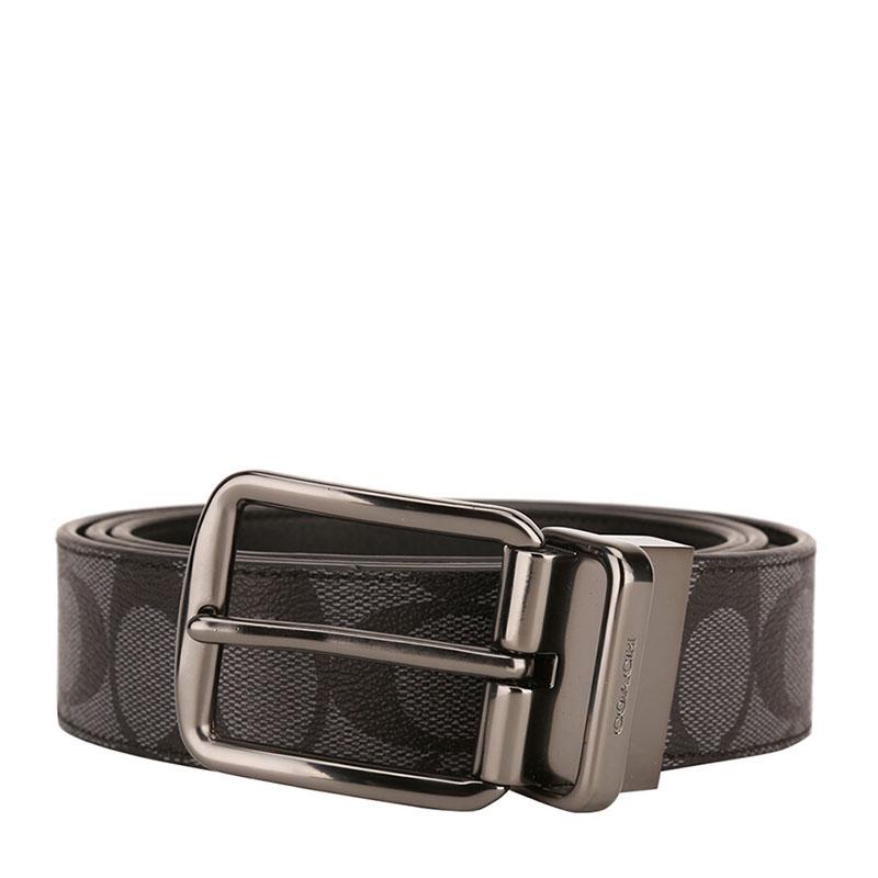 COACH 蔻驰 奢侈品 男士黑灰色皮质腰带皮带 F64839 CQ/BK