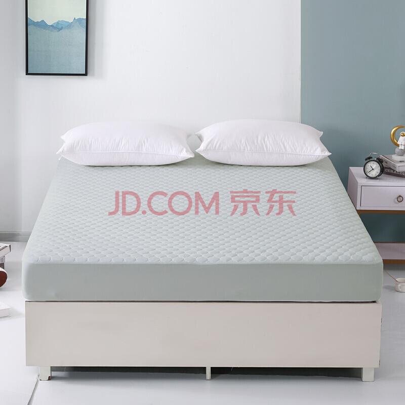 水星家纺床垫床褥子 四季保护垫可折叠床垫子 萱柔全棉防水透气床护垫(素灰色)180×200cm,水星家纺