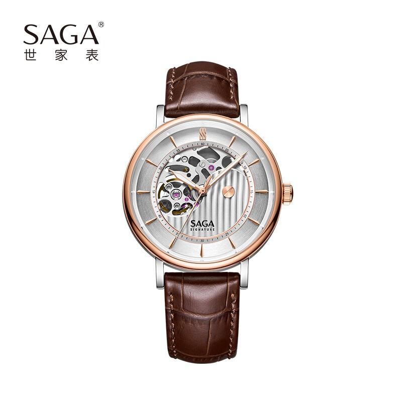 SAGA世家男士手表机械机芯轻奢小众真皮皮带腕表大表盘防水白夜光送男友送礼物