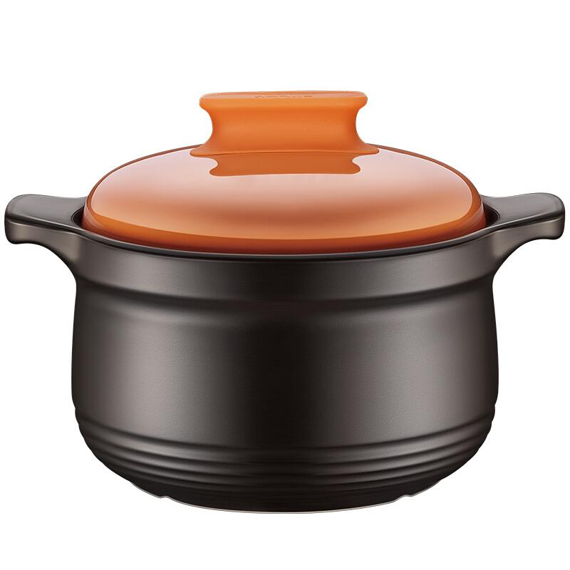 苏泊尔supor砂锅石锅盖无双新陶养生煲深汤煲陶瓷煲4.5L橙色TB45H1