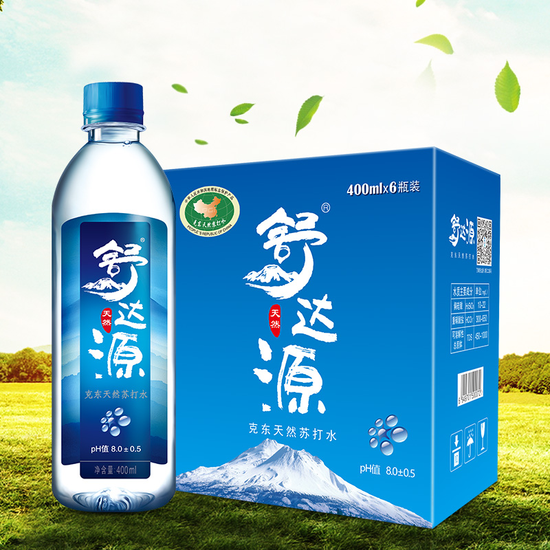 舒达源天然苏打水400ml*6瓶装 碱性水 苏打水 矿泉水