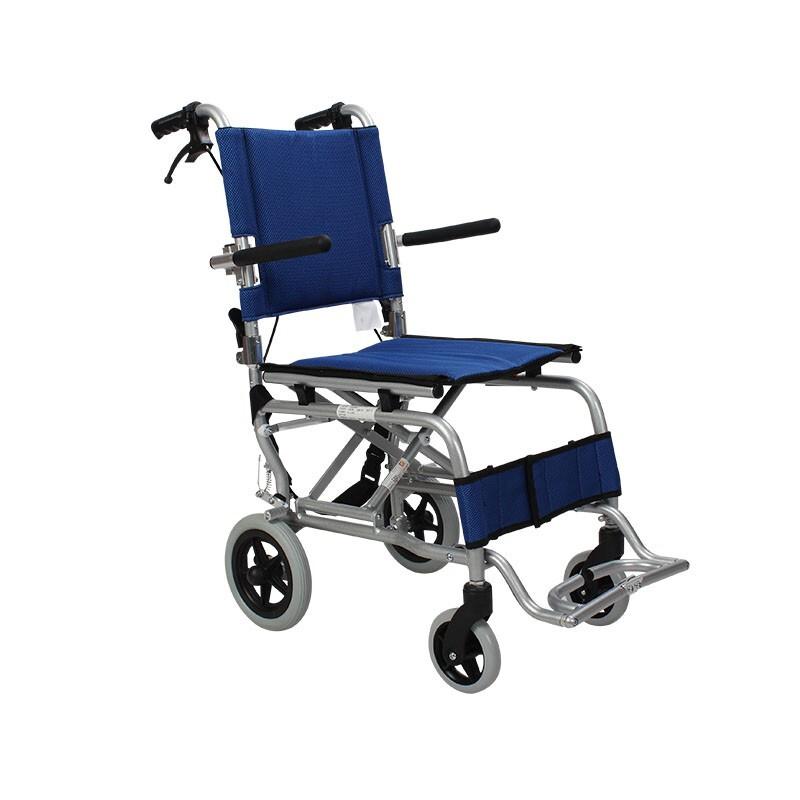AUFU 佛山东方便携式轮椅 铝合金老人轻便折叠手推儿童旅行飞机轮椅车FS804LABJP 蓝色