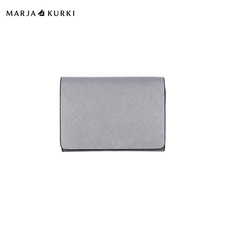 瑪麗亞.古琦(MARJA KURKI)男女通用款卡包十字紋牛皮多功能卡包名片包 7BB3D2790灰色