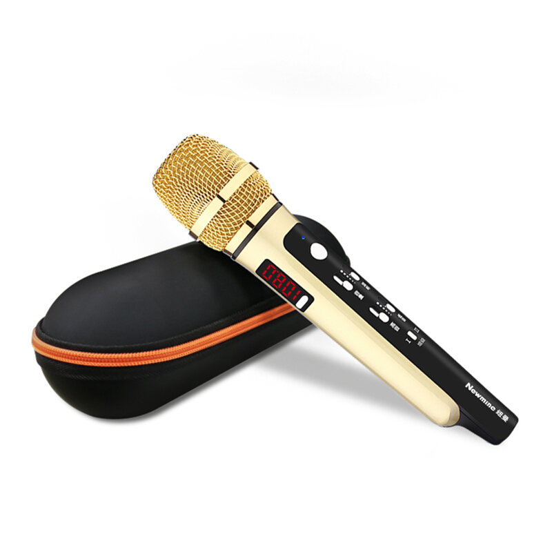 纽曼(Newmine)MC04 汽车手机唱吧k歌动圈麦克风车载ktv无线话筒录音直播蓝牙主播喊麦便携神麦 金色