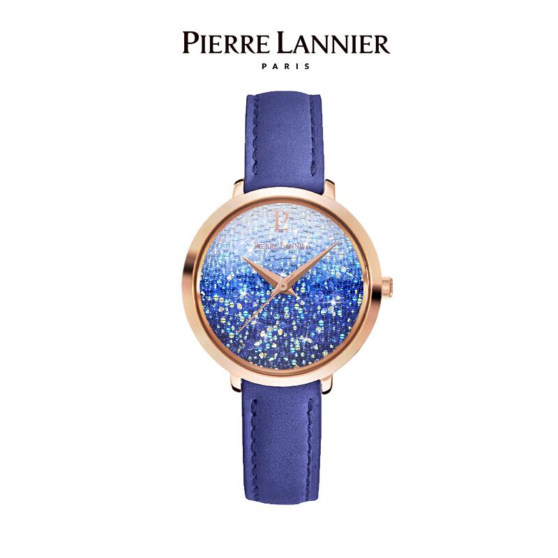 连尼亚(PIERRE LANNIER)法国进口女士满天星手表 施华洛世奇星钻系列29mm水晶表盘小众石英女表PL-108G966