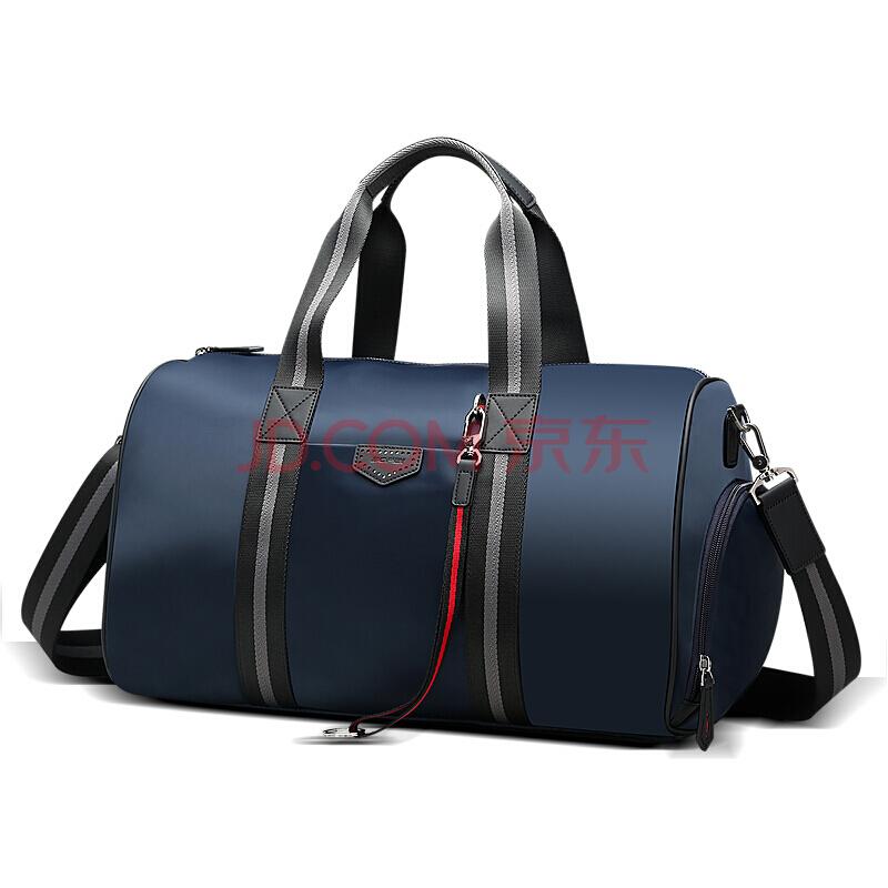 博牌Bopai旅行包 男士行李包 短途大容量女行李袋 出差健身包旅游手提单肩包 防水带鞋仓 蓝色832-007712,博牌