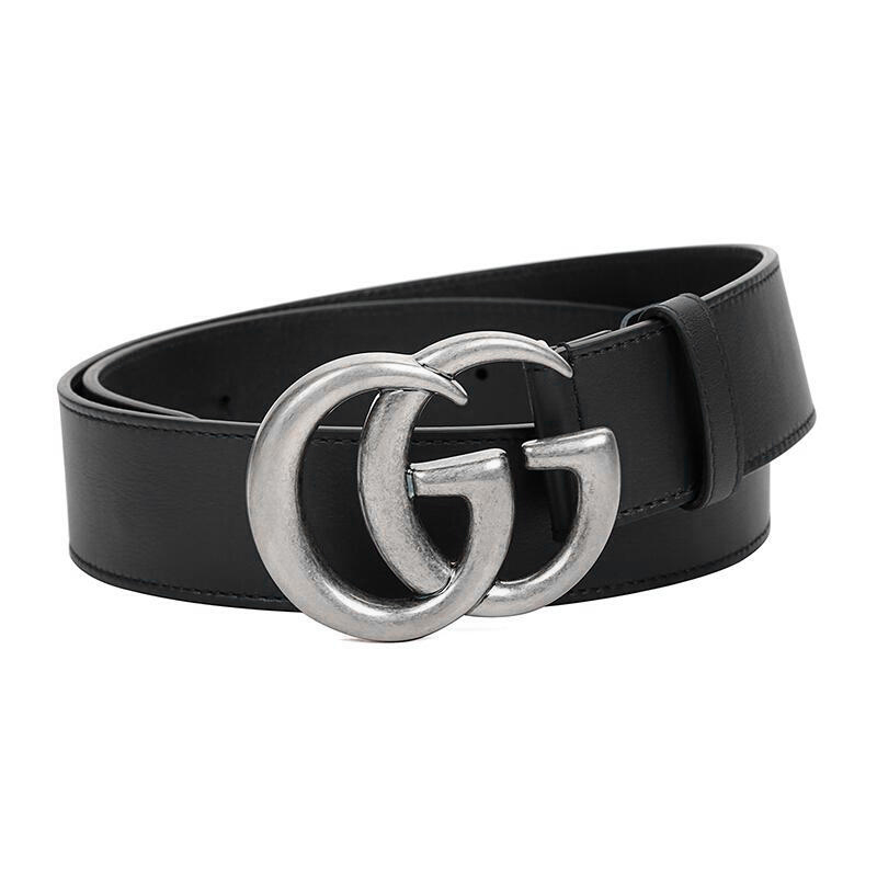 GUCCI/古驰 男士黑色牛皮双G银扣板扣腰带 宽4CM 397660-AP00N-1000