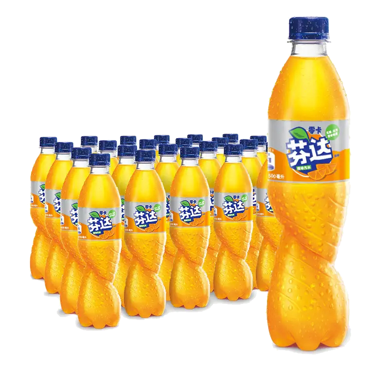 芬达 Fanta 零卡 Zero 无糖无卡 橙味 汽水 碳酸饮料 500ml*24瓶 整箱装 可口可乐公司出品 新老包装随机发货