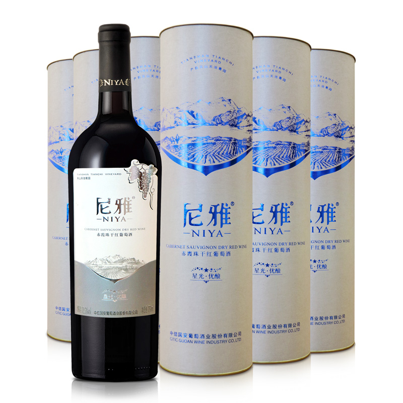 尼雅星光优酿赤霞珠干红葡萄酒 整箱装750mlx6瓶