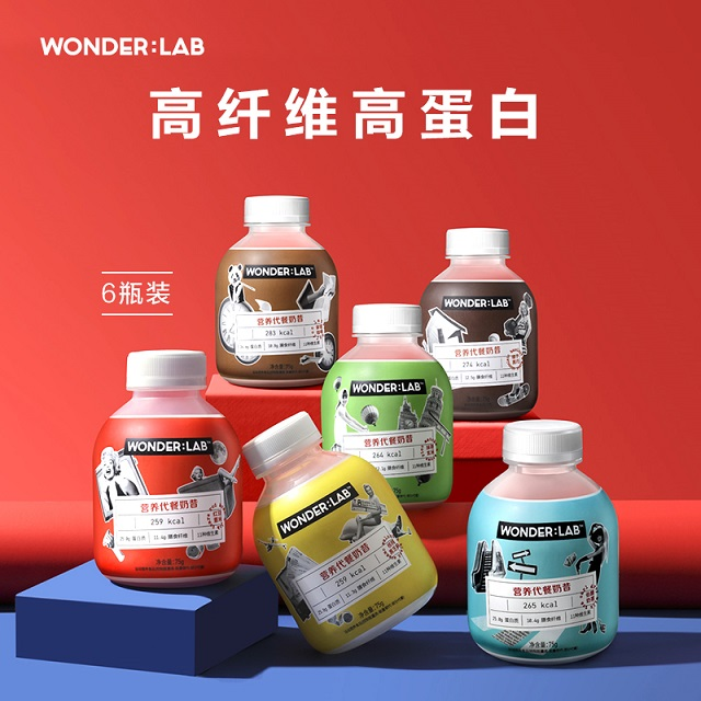 WonderLab 嚼嚼代餐奶昔 1瓶1餐 300卡超低熱量 6瓶混合裝