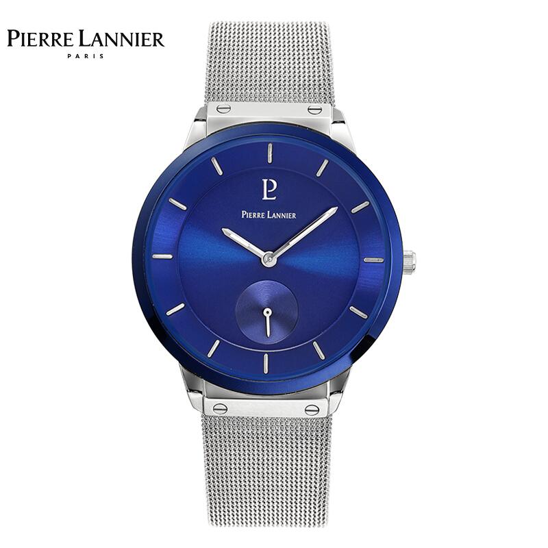 连尼亚(PIERRE LANNIER)法国进口手表男表 40mm蓝盘蓝边钢带超薄男士石英手表PL-234F168