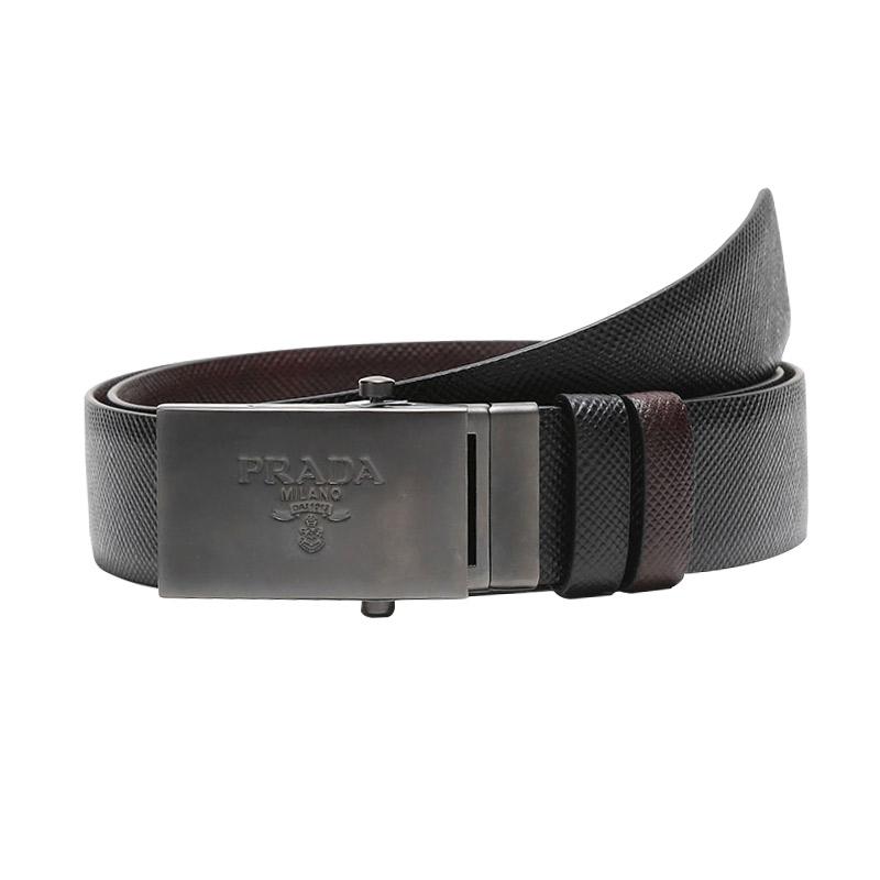 PRADA/普拉达 男士黑色/棕色皮革双面带扣式腰带