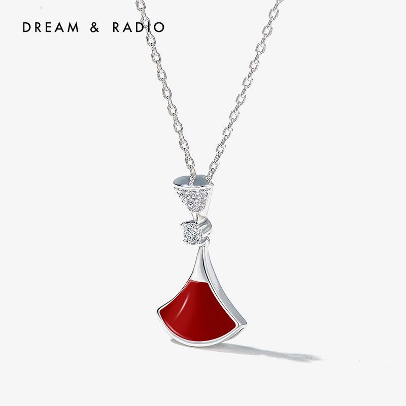 Dream&Radio 红色扇叶项链女小众品牌项链设计感锁骨链网红潮脖子饰品生日礼物