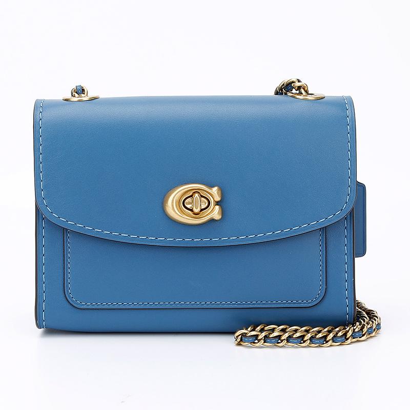 蔻驰 COACH 奢侈品 女士专柜款PARKER 18号皮质单肩斜挎包蓝色 29392 B4LKE