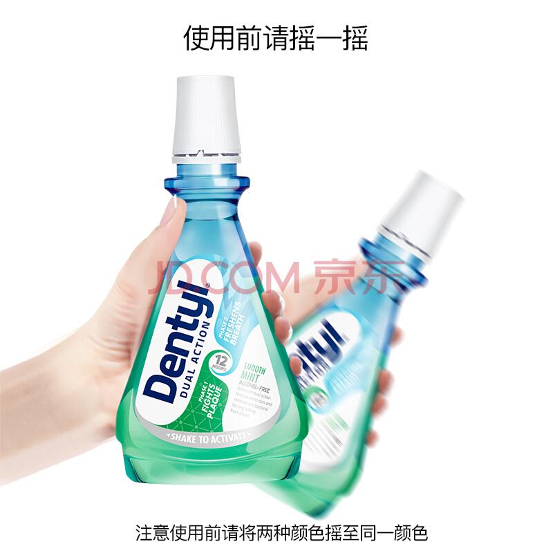 邓特艾克 Dentyl Active 漱口水抑菌 去牙渍 清新口气 深层清洁 全效护理天然薄荷500ml,邓特艾克(Dentyl Active)