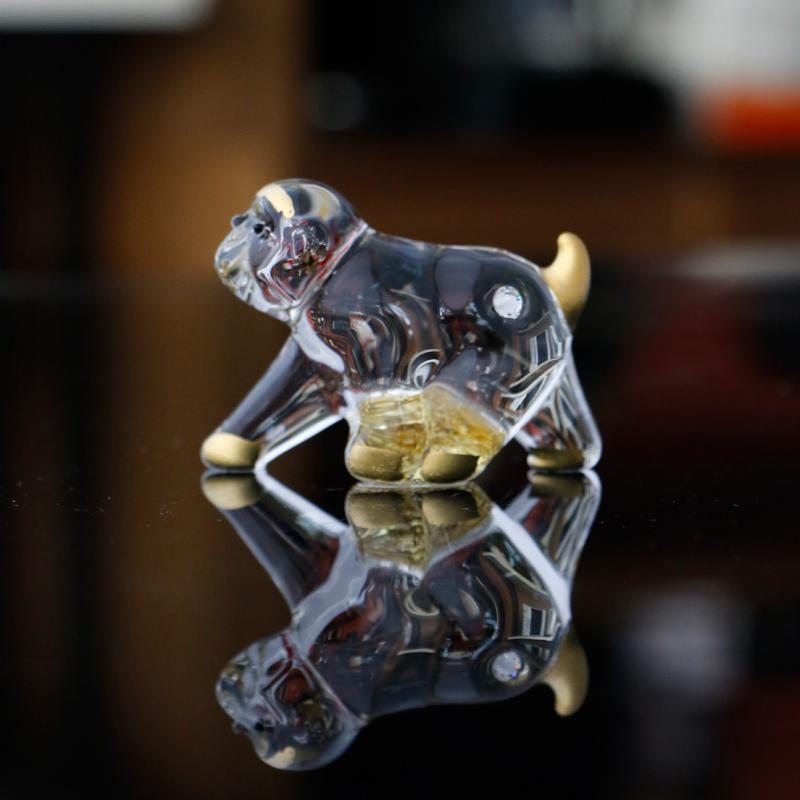 礼盒包装MinoYaki美浓烧呆萌透明可爱精美桌面玻璃摆件(一只猴)
