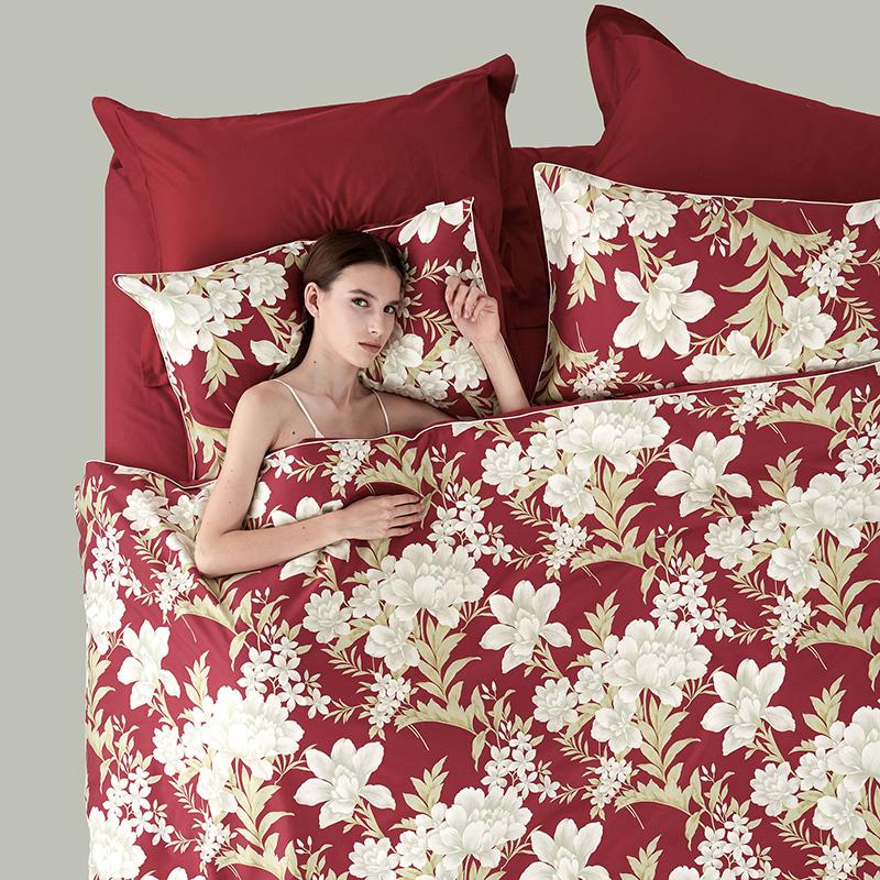 LaSuntin 法国芍药纯棉丝光贡缎 床品四件套全棉床上用品