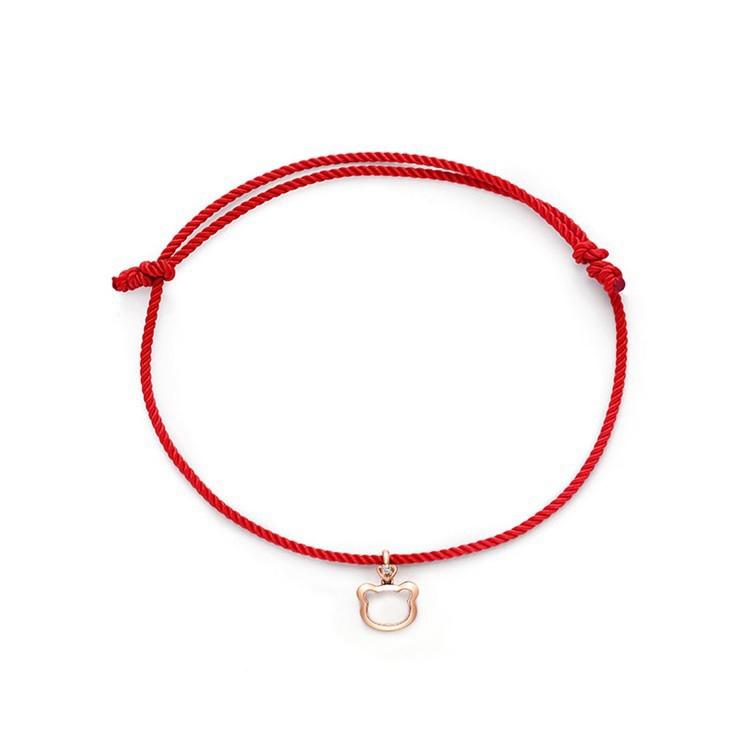 周大福珠寶首飾SOINLOVE紅繩款18K金彩金鉆石手鏈VU651